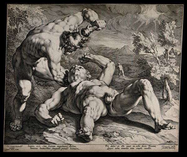 Cain violently kills Abel. Engraving by Jan Muller after Cornelis van Harlem