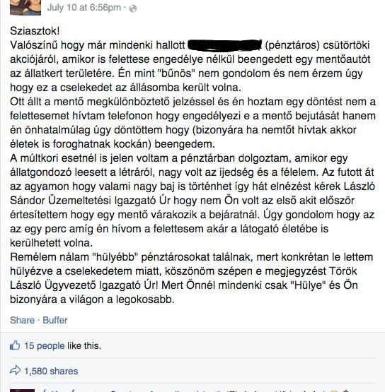 Az eredeti  Facebook-bejegyzés, amelyet nagyon sokan osztottak meg azóta