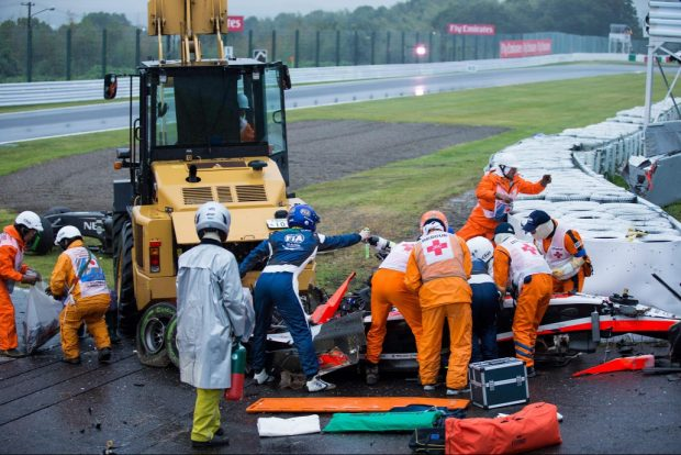 Bianchi autójának roncsai a tavalyi suzukai nagydíjon