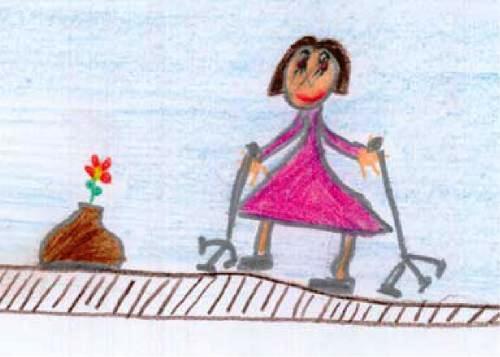 """""""...mindkét kezében egy-egy háromlábú bottal"""" (a rajzot a Hakösz – Hallgatók a Közösség Szolgálatában Országos Egyesülete oldaláról kölcsönöztük)"""