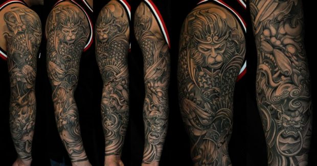 Full-sleeve-Monkey-King-tattoo