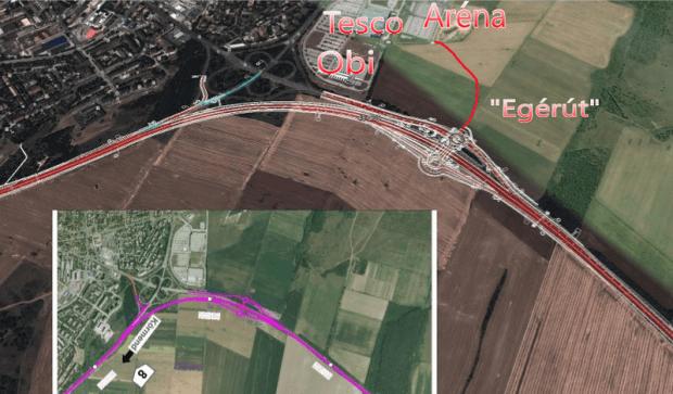 A Budapest úti csomópont átépítésének terve, plusz egérút. Forrás: nif.hu