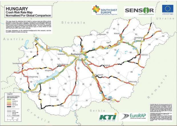 Kockázatos a 8-as út, ne keressenek zöld szakaszokat rajta. Térképek forrása: Közlekedéstudományi Intézet Nonprofit Kft. 2011–2014-es beszámoló