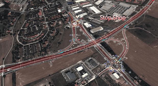 A balatonalmádi csomópont terve: itt van a város legnagyobb bevásárlóközpontja, körforgalom épül(het)ne az Almádi úton