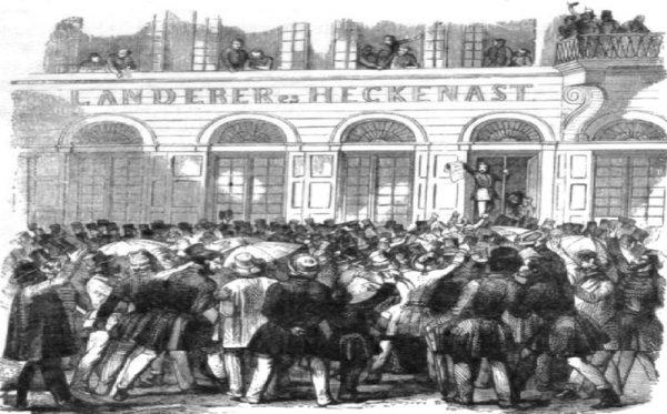 1848. március 15-én délelőtt Landerer és Heckenast nyomdászüzemében zajlott le az a híres jelenet, amelynek során Petőfi Sándor és a márciusi ifjak a nép nevében lefoglalták a nyomdagépet, és kinyomtatták a szabad, cenzúra nélküli sajtó első példányait. Forrás: Magyar Elektronikus Könyvtár