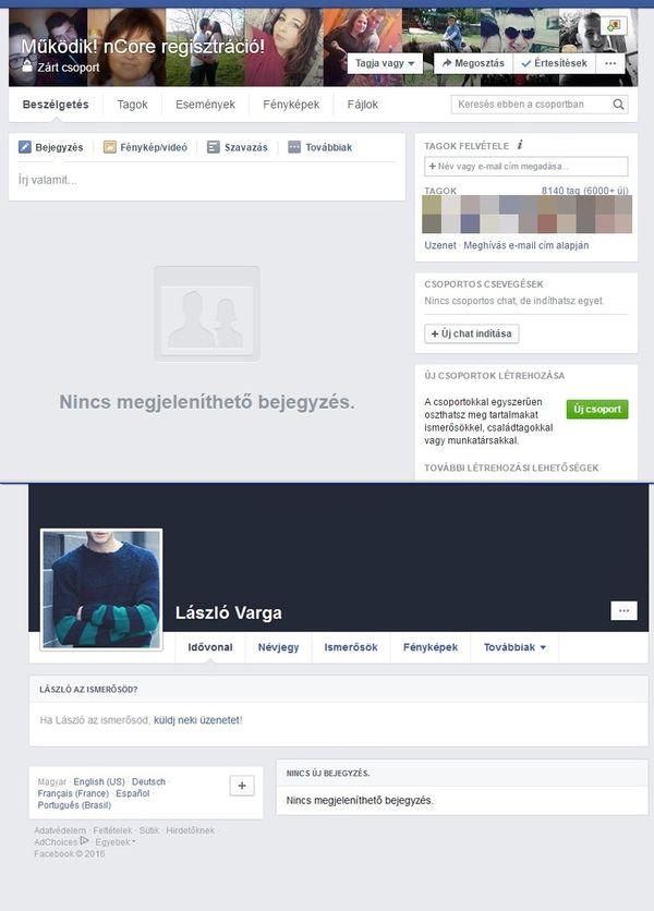 Az átverős Facebook-csoport és a csaló profilja