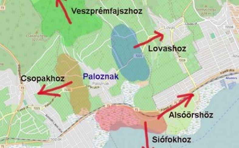 Paloznak minden részét más településhez csatolnák (Grafika: balatontipp.hu)
