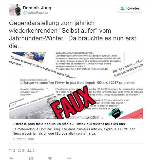 Dominik Jung Twitter-üzenete a kamuhír kapcsán