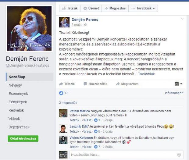 A Demjén Ferenc oldalára látogató most ezt láthatja: egyetlen kérdés, negatív hozzászólás nincs. Mintha minden rendben lenne