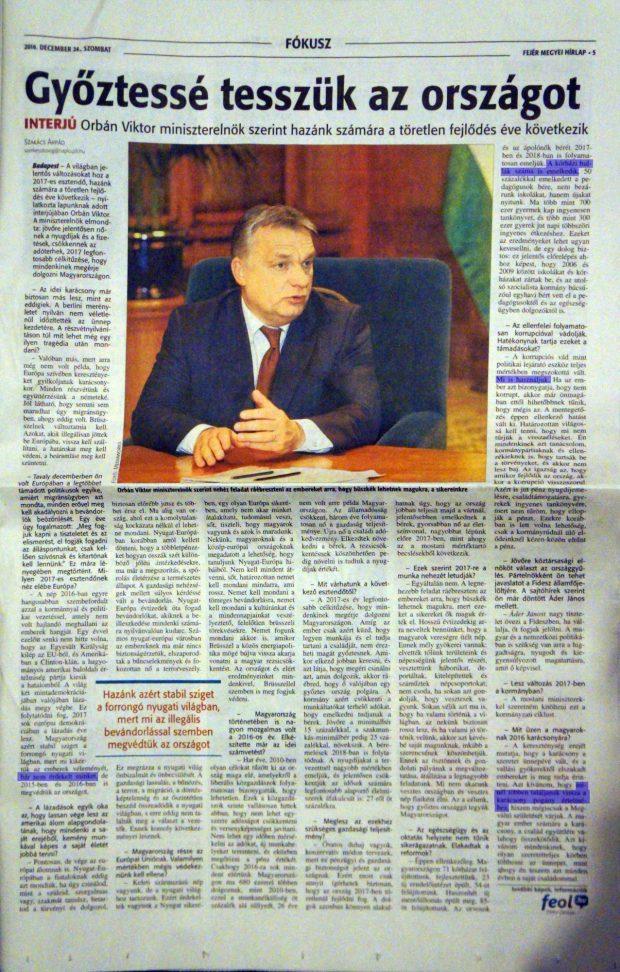 A Fejér Megyei Hírlap december 24-ei számában megjelent interjú, kiemelve a beírások. Forrás: 444.hu