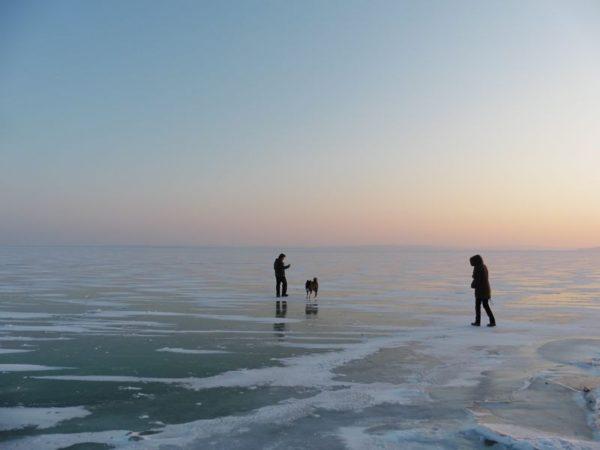 A csopaki strandnál ma délután úgy egytucatnyian merészkedtek a jégre. Fotók: a szerző