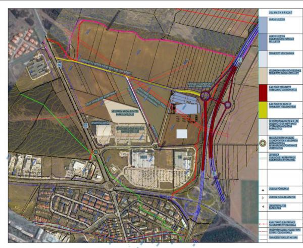 A korábban tervezett közlekedési kapcsolatok az arénához, a leendő uszodához és jégpályához