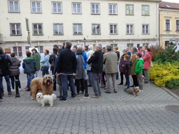 Fiatalok, idősek és néhány család kora esti sétáját kötötte össze a kis demonstrációval (Fotó: A szerző)