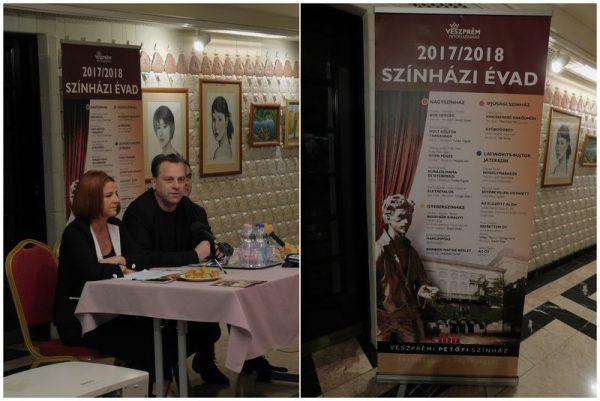 Egresi Zsuzsanna igazgatóhelyettes és Oberfrank Pál igazgató a sajtótájékoztatón. Fotó: Petőfi Színház