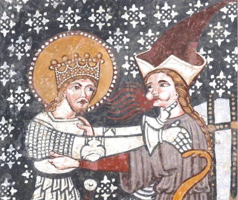 Egy a néhány középkori falkép közül, amely a Szent László-legendát ábrázolja. Fotó: Laczkó Dezső Múzeum