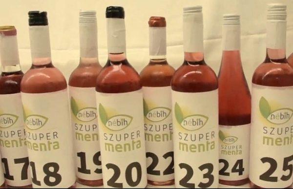 Rozéteszt számozott palackokkal. Fotó: NÉBIH