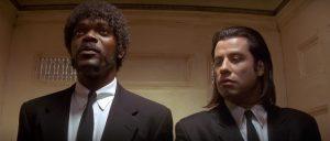 Jules Winnfield (Samuel L. Jackson) és Vincent Vega (John Travolta), a két bérgyilkos gyilkolni indul