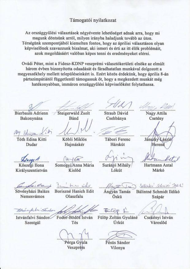 A teljes támogatói levél a 22 polgármester aláírásával