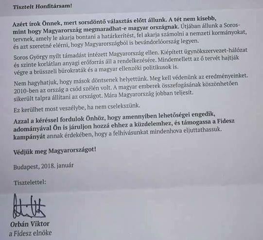 A miniszterelnök levele. Fotó: Facebook