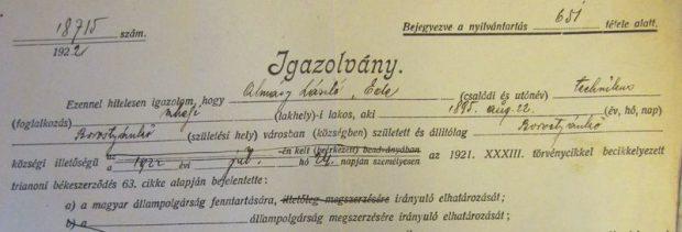 Almásy László gróf igazolványának részlete