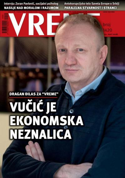 A Vreme márciu 22-ei címlapja, rajta Zoran Pavlović szociálpszichológus