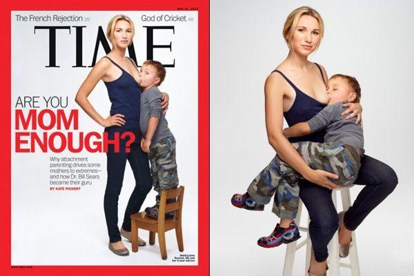 Néhány évvel ezelőtt a Time magazin címlapja hároméves fiát szoptató anya portréjával borzolta a kedélyeket