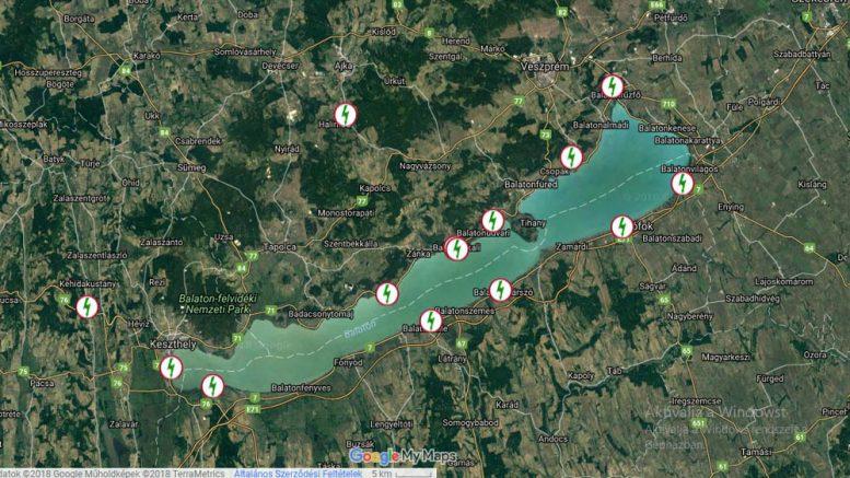 Térképen a balatoni ebike töltőhálózat. Kép: balatontipp.hu