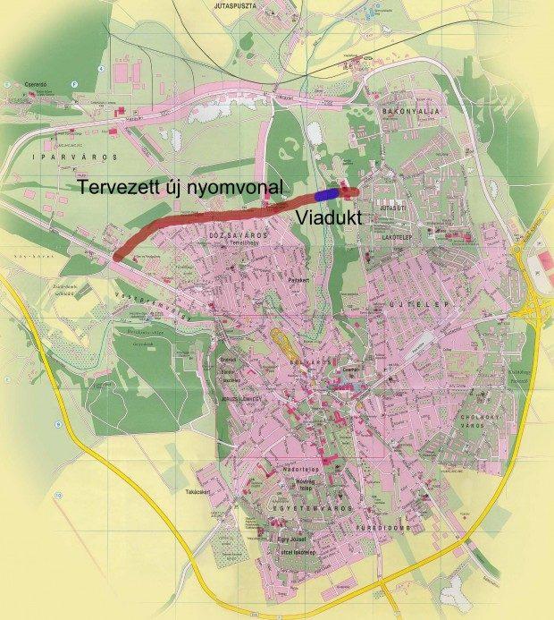 Várostérkép az új körgyűrű-szakasszal