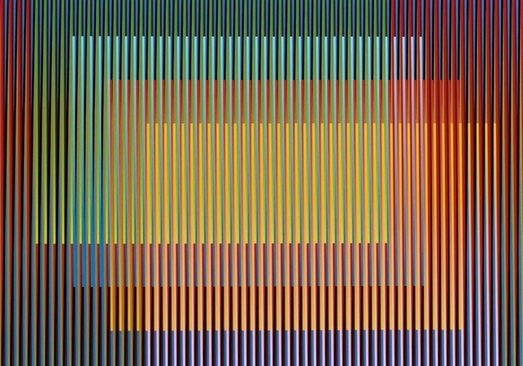 Carlos Cruz-Diez Color Aditivo Titi című cromográfiáját is megcsodálhatja a közönség. Fotó: Művészetek Háza Veszprém