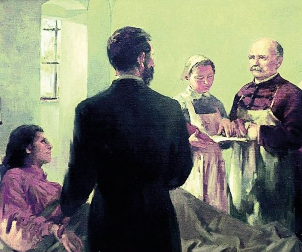 Korabeli festmény az orvosról