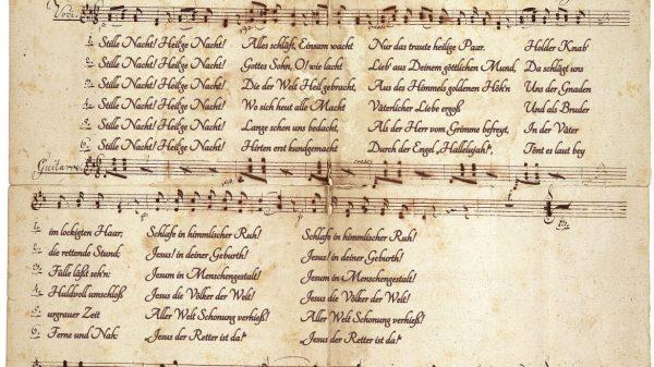 A Csendes éj eredeti változata, amely az oberndorfi Szent Miklós templomban hangzott föl először. Kép forrása: salzburgerland.com