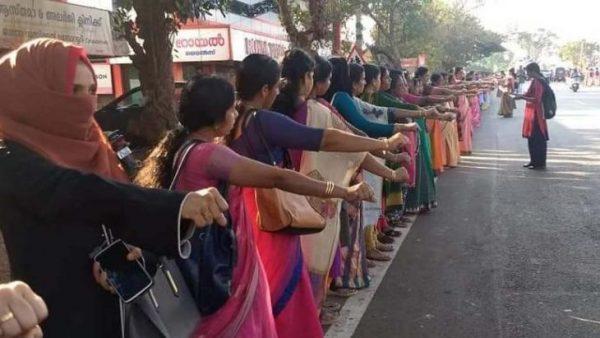 Nők fala Keralában. Fotó: Twitter/@Neelippenu