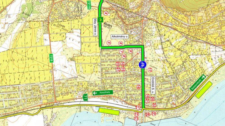 A bicikliút alsóörsi szakaszának tervezett nyomvonala. Térkép forrása: alsóörsi önkormányzat