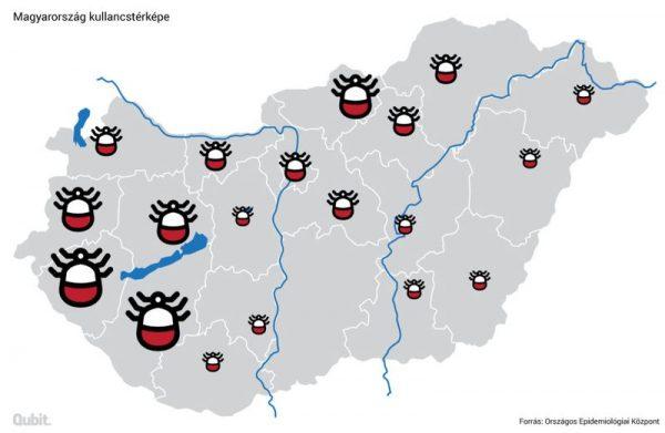 Magyarország kullancstérképe. Forrás: Országos Epidemiológiai Központ, grafika: Tóth Róbert Jónás
