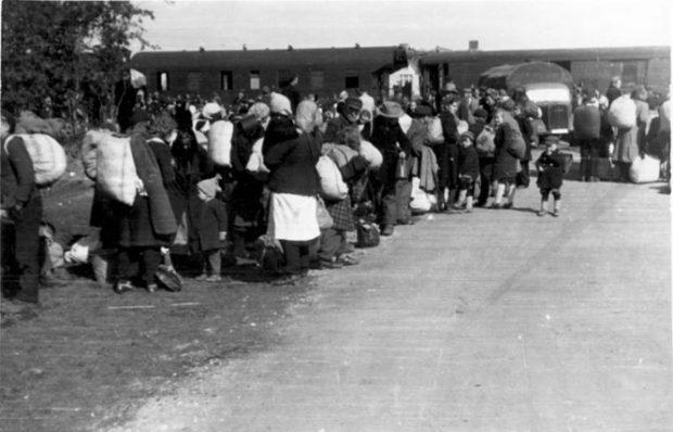 Kitelepítések: nincstelenül hagyták el Magyarországot a svábok. Fotó: Bundesarchiv