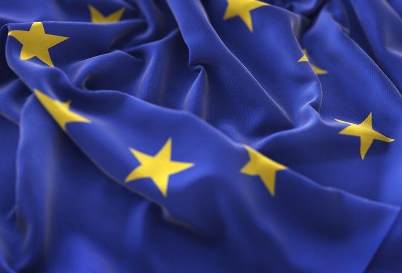 European Flag Ruffled Beautifully Waving Macro Close-Up Shot