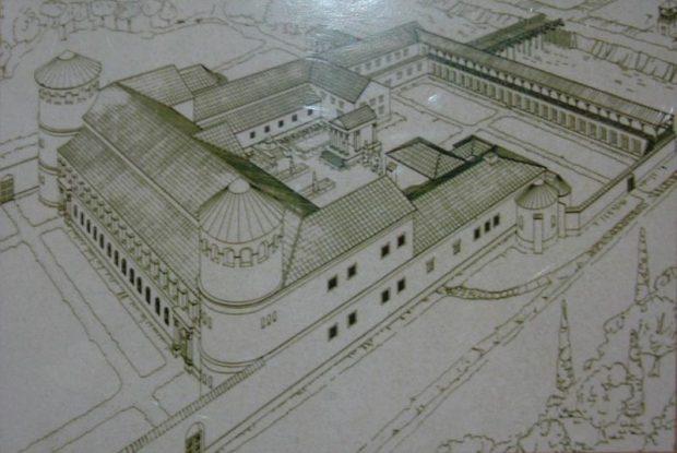 A Budapest III. kerületében lévő Hajógyári-sziget szélén, a légiós tábortól kissé északkeletre helyezkedett el a Pannonia Inferior (Alsó-Pannónia) Aquincumban székelő helytartójának palotája. Feltételezik, hogy a 106 és 108 között hivatalban lévő első helytartó, a későbbi császár, Hadrianus építtette (forrás: Kaboldy)