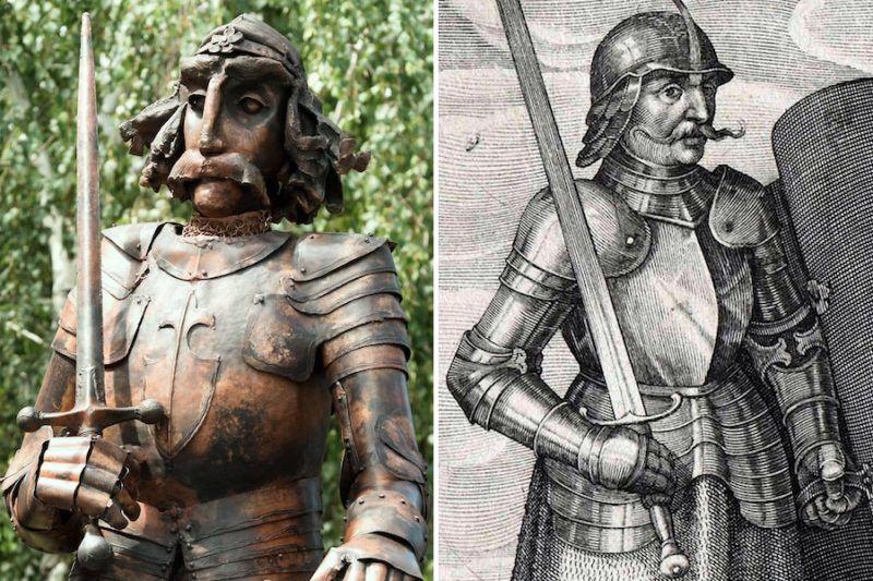 A friss Hunyadi-szobor, illetve egy XV. századi metszet részlete – utóbbi a kormányzó-hadvezér évszázadok óta ábrázolt arcát mutatja. Kép forrása: 24.hu