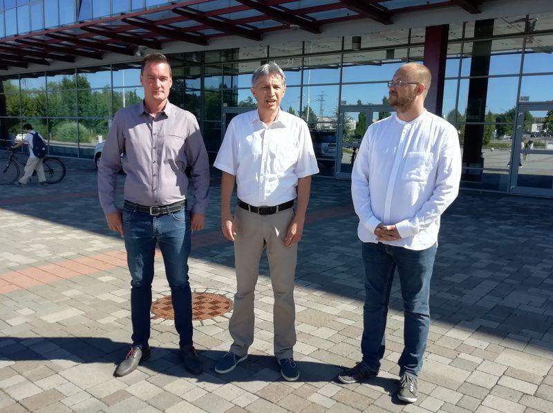 Mihályi Balázs, Katanics Sándor és Gerstmár Ferenc a sajtótájékoztatón. Fotó: a szerző