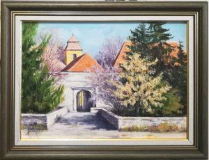 Holányi Julianna: A várkapunál (Mosonmagyaróvár) Akril (vászon faroston) 25x35 cm keretezett Induló ár: 30.000,- Ft