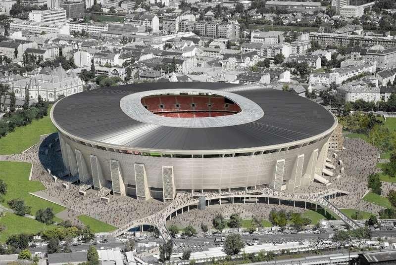 A Puskás Aréna. Továbbra is rengeteg pénz megy focira. Fotó: epiteszforum.hu