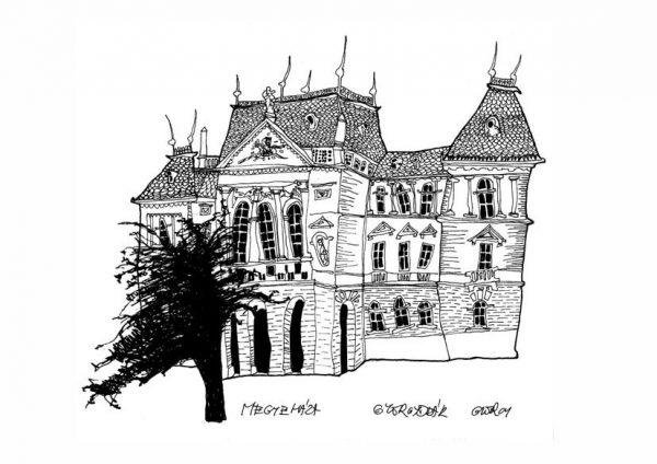 Veszprémi Megyeháza. Györgydeák György rajza. Kép forrása: oliva.hu