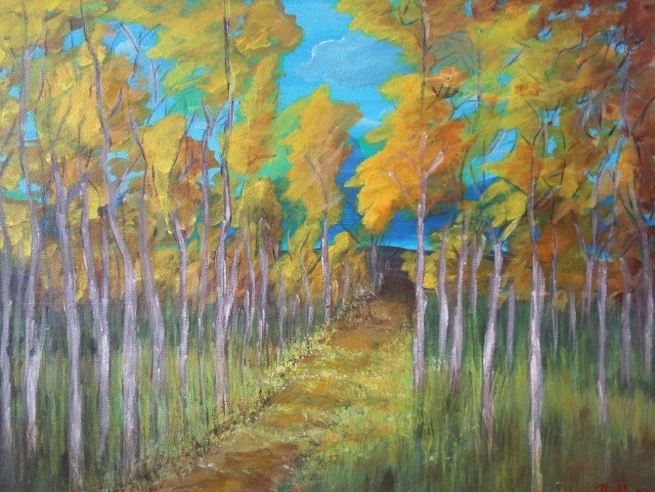 Az aukción Deákné Pesti Magdolna Erdei út című akrilfestményére is licitálhatnak az érdeklődők