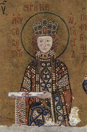 Szent Piroskát ábrázoló bizánci mozaik szintén a Hagia Szofiában. Fotó: wikipedia.org