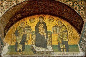 Szűz Máriát ábrázoló mozaik a Hagia Szofiában. Fotó: hagiasophiaturkey.com
