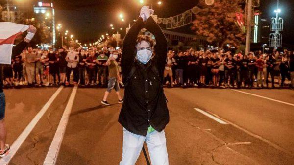 Tüntetés Minszkben, Fehéroroszország fővárosában. Fotó: polishnews.co.uk