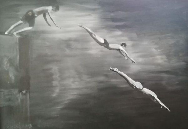 Koscsó László: Fürdőzők, akril, vászon, 70x100 cm