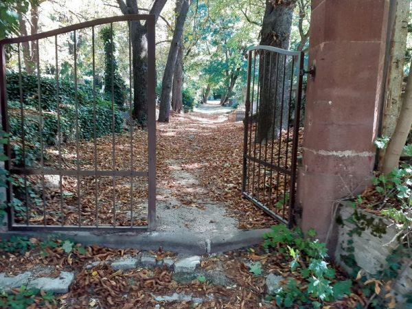 Az Alsóvárosi temető új kapuja, kovácsoltvas, nem olyan míves, mint a régi, de legalább van. Fotók: a szerző