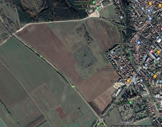 A Takácskert mellé tervezett út a Google-térképen