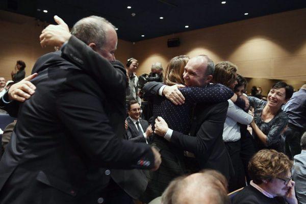 Így örült a bejelentésnek a veszprémi csapat az Európa Kulturális Fõvárosa 2023 projekt eredményhirdetésén a Müpában 2018. december 14-én. Fotó: MTI/Koszticsák Szilárd